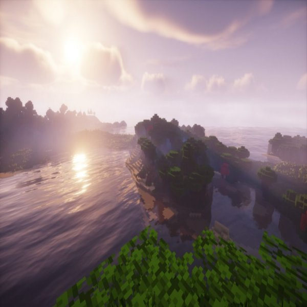 Roofed Forest meets the sea in this lovely vista, rendered using Chocapic13's Shaders for Minecraft 1.16.2.